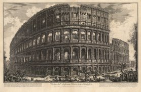 Piranessi: The Colosseum, Rome. Etching, 1757. 28 x 18 inches. [ITp2253]