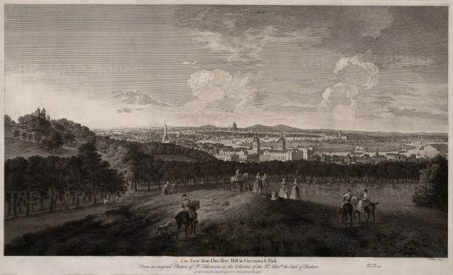 """John Boydell, 'The View from One-tree Hill in Greenwich Park', 1774. An original black and white copper-engraving. Framed. 19"""" x 28"""". £POA."""
