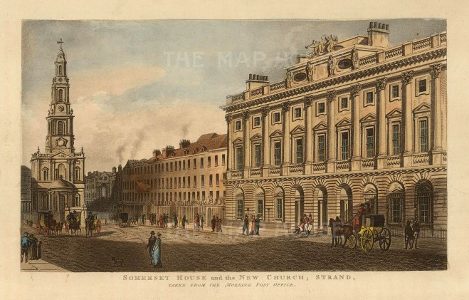 """John Papworth, 'View of Somerset House and The New Church', 1816. An original colour aquatint. 6"""" x 8"""". £POA."""