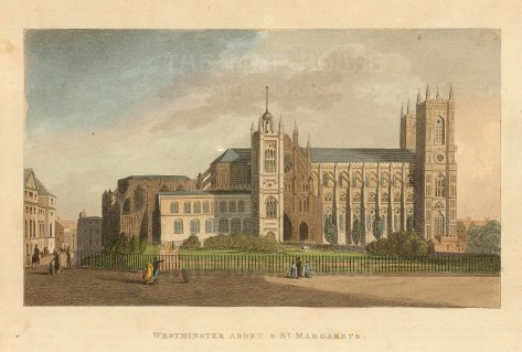 "John Papworth, 'Westminster Abbey and St Margarets', 1816. An original colour aquatint. 6"" x 8"". £POA."
