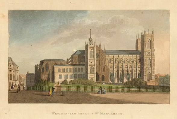 """John Papworth, 'Westminster Abbey and St Margarets', 1816. An original colour aquatint. 6"""" x 8"""". £POA."""