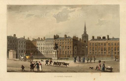 "John Papworth, 'St. James's Square', 1816. An original colour aquatint. 6"" x 8"". £POA"