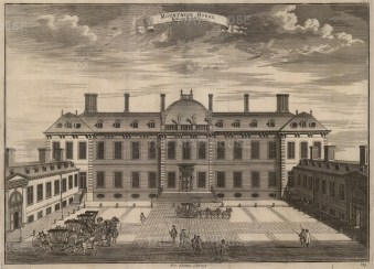"""John Stow, 'Montague House, Great Russell St', 1754. An original black and white copper-engraving. 14"""" x 18"""". £POA"""
