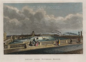 "Cooke, 'London from Waterloo Bridge', c.1820. A hand-coloured original steel-engraving. 7"" x 92. £POA."