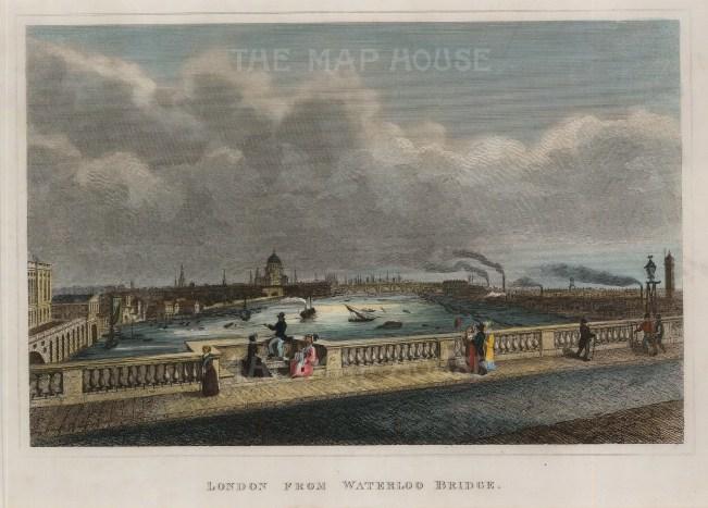 "Cooke, 'London from Waterloo Bridge', c.1820. A hand-coloured original steel-engraving. 7"" x 92. £POA."