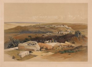 "David Roberts, 'Gaza', 1848. A hand-coloured original lithograph. 15"" x 20""."