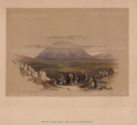 """David Roberts, 'Mount Tabor from the Plain of Esdraelon', 1843. A hand-coloured original lithograph. 8"""" x 15""""."""