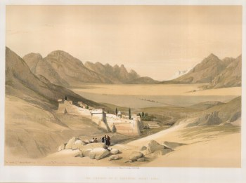 """David Roberts, 'Chapel of the Convent of St. Catherine, on Mount Sinai.', 1849. A hand-coloured original liithograph. 16"""" x 22"""". £POA."""
