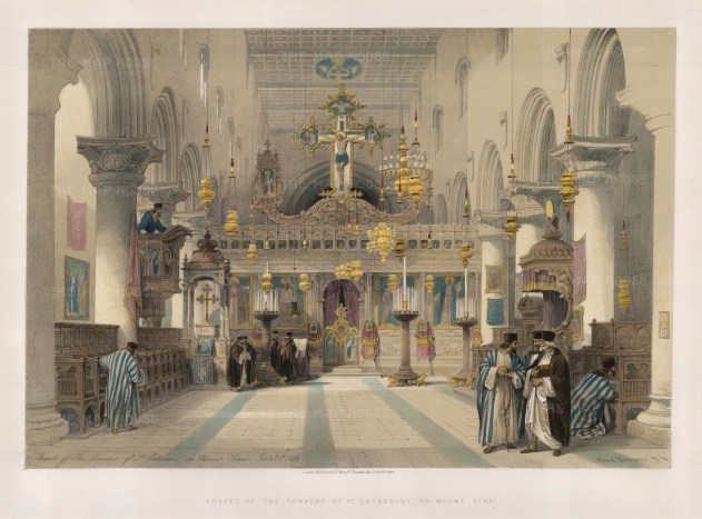 """David Roberts, 'Chapel of the Convent of St. Catherine, on Mount Sinai', 1849. A hand-coloured original lithograph. 16"""" x 22"""". £POA."""