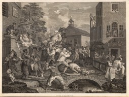 "William Hogarth, 'The Election', 3 of 4, c.1800. An original black and white copper engraving. 15"" x 22"". £POA."