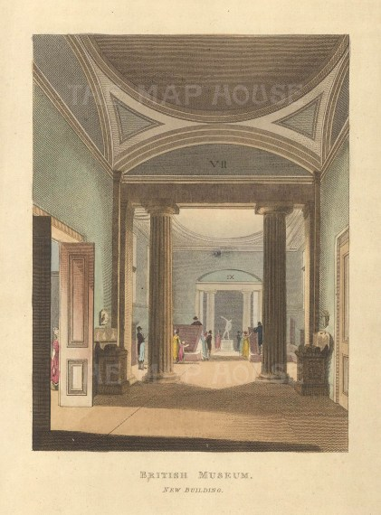 "John Papworth, 'British Museum, New Building', 1816. An original colour aquatint. 6"" x 8"". £POA."