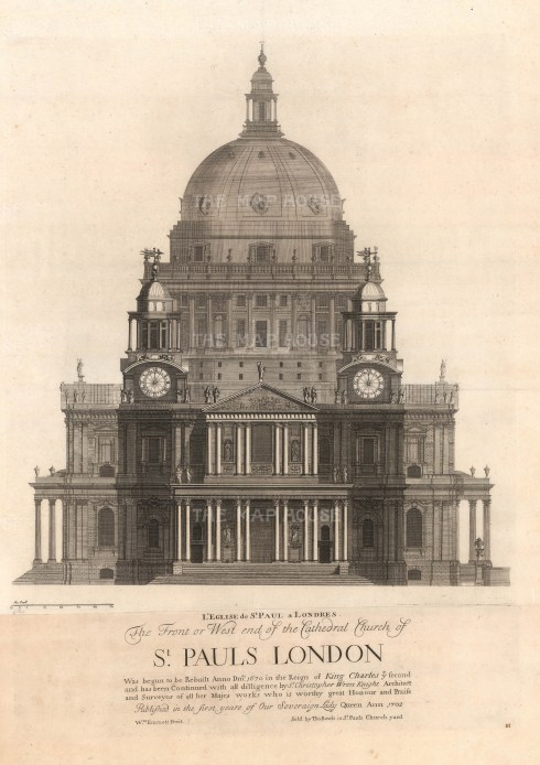 """Thomas Bowles, 'St Paul's Cathedral - Prospect of the West-End', 1732. An original black and white copper-engraving. 18"""" x 27""""."""