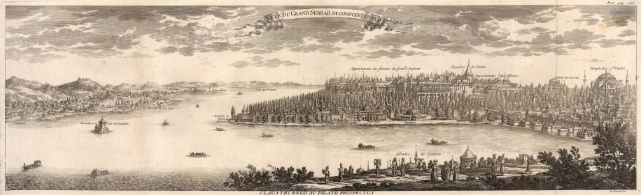 """Le Blond, 'Vue du Grande Serrail de Constantinople', 1711. An original black and white copper engraving. 12"""" x 35"""".Le Blond, 'Vue du Grande Serrail de Constantinople', 1711. An original copper engraving. 12"""" x 35"""".Le Blond, 'Vue du Grande Serrail de Constantinople', 1711. An original copper engraving. 12"""" x 35"""". £POA."""