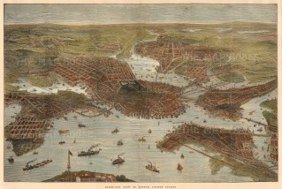 """The Illustrated London News, 'Bird's-Eye View of Boston', c.1880. A hand-coloured original wood-engraving. 13"""" x 20"""". £POA."""