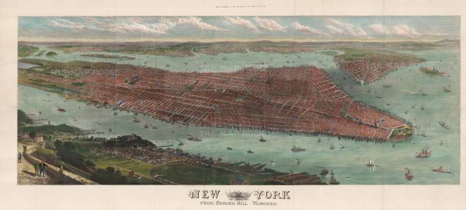 """The Illustrated London News, 'New York, from Bergen Hill - Hoboken', 1876. A hand-coloured original woof-engraving. 45"""" x 22"""". £POA."""