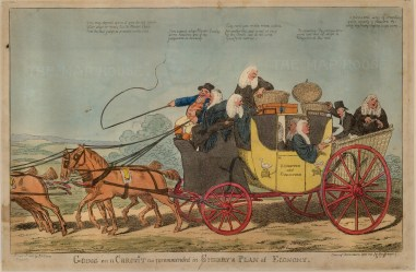 """S.W. Fores, 'Going a Circuit', 1803. An original colour etching. 10"""" x 16"""". £POA."""