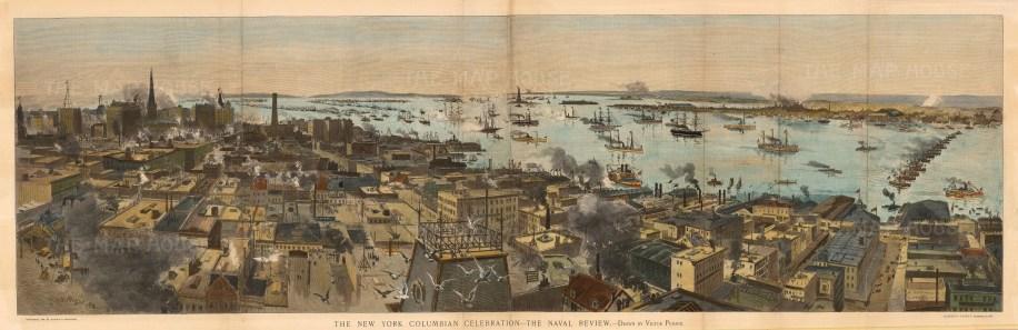 "Harpers, 'New York Columbian Celebration', 1892. An original hand-coloured wood-engraving. 14"" x 43"". £POA."