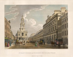 "Malton, St. Mary's Church and Somerset House in the Strand, 1796. An original colour aquatint. 11"" x 14"". £POA"