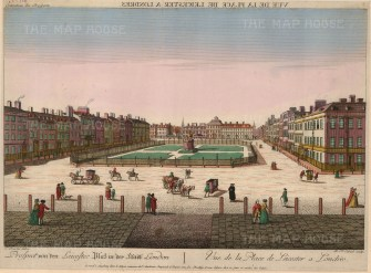 "Vue D'Optique, Leicester Square, c.1780. An original hand-coloured copper-engraving. 12"" x 17"". £POA"