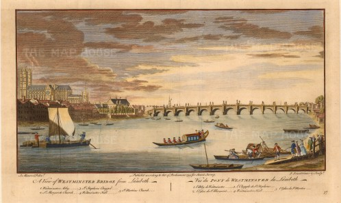 "John Stowe, Westminster Bridge from Lambeth, 1754. A hand-coloured original copper-engraving. 11"" x 16"". £POA"