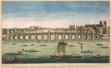 "Vue D'Optique, Westminster Bridge, c.1770. An original hand-coloured copper-engraving. 9"" x 14"". £POA."