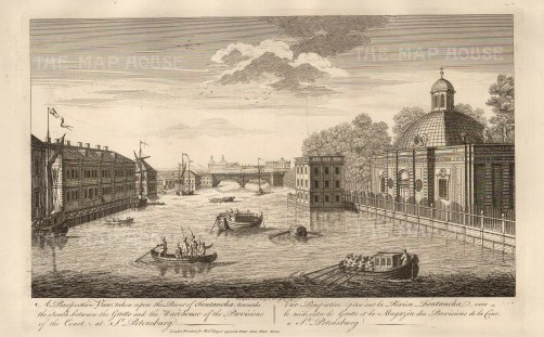 """Sayer, 'Perspective View taken upon the River Fontancka, towards the South between the Grotto and the Warehouse of the Provisions of the Court, at St. Petersburg', 1774. An original black and white copper-engraving. 12"""" x 18"""". £POA."""
