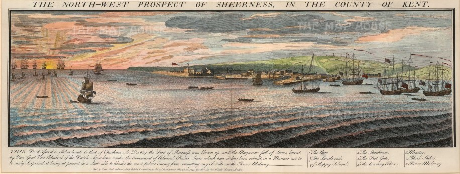 """The North-West Prospect of Sheerness, in the County of Kent', 1739. A hand-coloured original copper-engraving. 13"""" x 32"""". £POA."""