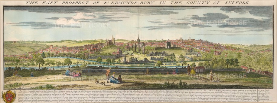 """Buck, 'The East Prospect of St, Edmunds-Bury, in the County of Suffolk', 1741. A hand-coloured original copper-engraving. 11"""" x 31"""". £POA."""