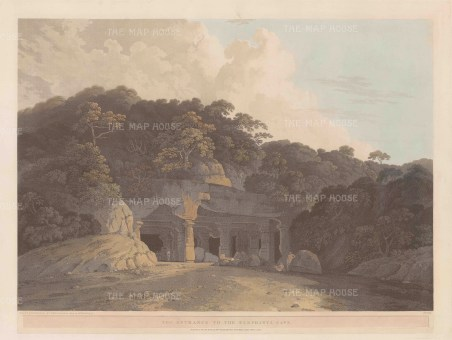 "Daniell, 'The Entrance to the Elephanta Cave', 1800. An original aquatint. 19"" x 25"". £POA."