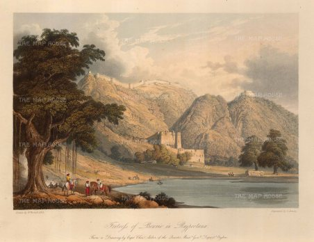 "Robert Melville Grindlay, 'Fortress of Bowrie in Rajpootana', 1803. An original colour aquatint. 9"" x 12"". £POA."