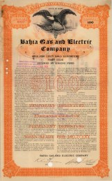 "Bahia Gas and Electric Company. Forty Year Debenture. 1905. A mixed-method engraving. 9"" x 14"". £POA."