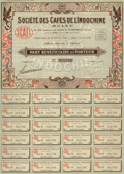 "Societe des Cafes de l'Indochine. Share Certificate. 1926. A mixed-method engraving. 10"" x 14. £POA."