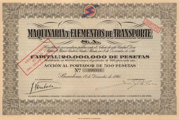 """Maquinaria y Elementos de Transporte. 1941. A mixed-method engraving. 7"""" x 12"""". £POA."""