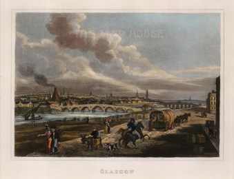 "Thomas Kelly, 'Panoramic View', Glasgow, 1832. An hand-coloured original steel-engraving. 6"" x 8"". £POA."