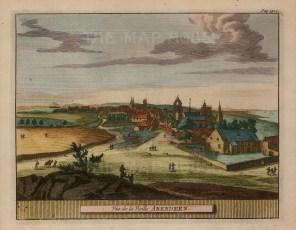 """Pieter van der Aa, 'Aberdeen', 1727. A hand-coloured original copper-engraving. 5"""" x 7"""". £POA."""