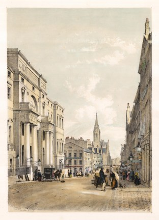 "Samuel Swarbeck, 'Edinburgh University, South Bridge Street', 1837. A hand-coloured original lithograph. 16"" x 12"". £POA."