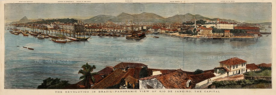 """The Illustrated London News, 'The Revolution in Brazil-Panoramic View of Rio de Janeiro. The Capital', 1875. A hand-coloured original wood-engraving. 7"""" x 23"""". £POA."""