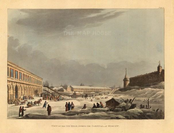 """Ackermann, 'View of the Ice Hills during the Carnival at Moscow', 1813. An original colour aquatint. 10"""" x 12"""". £POA."""