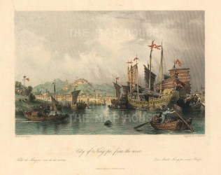 """G.N. Wright, 'City of Ning-po, from the River', 1843. A hand-coloured original steel-engraving. 7"""" x 9""""."""