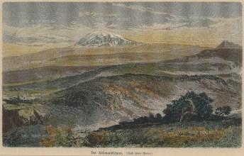 Geiltbeck: Mount Kilimanjaro, Tanzania. 1897. A hand coloured original wood-engraving. 8 x 5 inches. [AFRp1161]