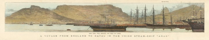 The Graphic Magazine: Cape Town, South Africa. 1881. A hand-coloured original antique wood-engraving. 21 x 4 inches. [AFRp1374]