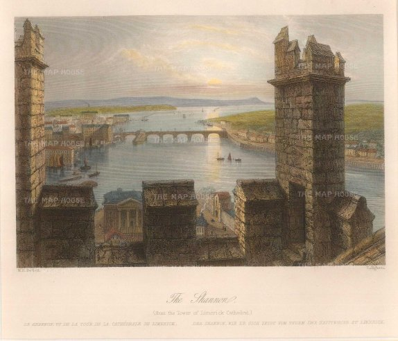 Bartlett: Limerick. 1841. A hand-coloured original steel-engraving. 8 x 7 inches. [IREp644]