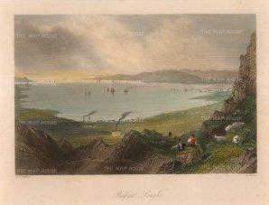Bartlett: Belfast Lough. Circa 1850. A hand-coloured original antique steel-engraving. 8 x 6 inches. [IREp654]