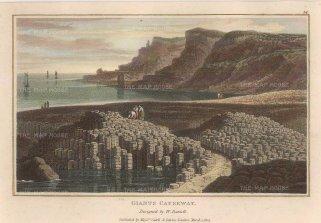 Daniell: Giant's Causeway. 1807. A hand-coloured originalantique aquatint. 8 x 5 inches. [IREp665]