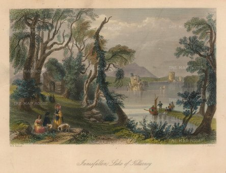 Bartlett: Innisfallem, County Kerry. 1841. A hand-coloured original antique steel-engraving. 8 x 6 inches. [IREp678]