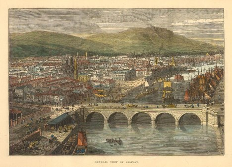 Brown: Belfast. 1885. A hand-coloured original antique wood-engraving. 8 x 6 inches[IREp679]