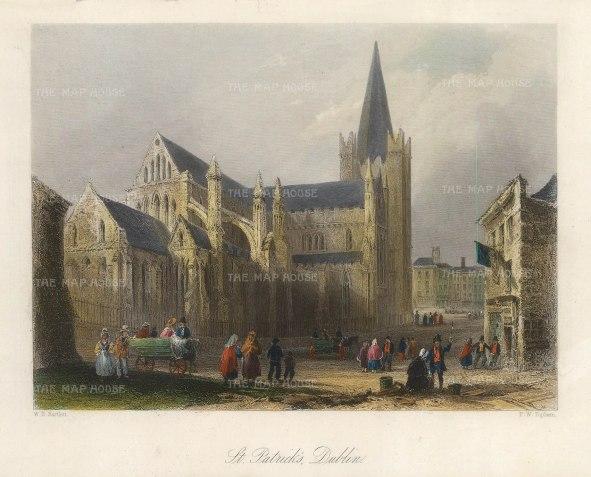 Bartlett: Dublin. 1841. A hand-coloured original antique steel-engraving. 8 x 6 inches. [IREp682]