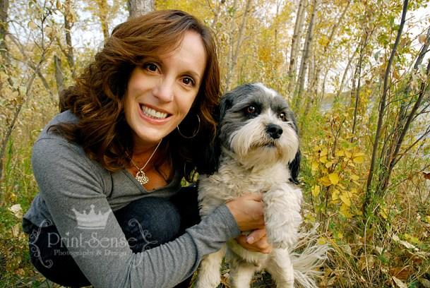 mom with dog