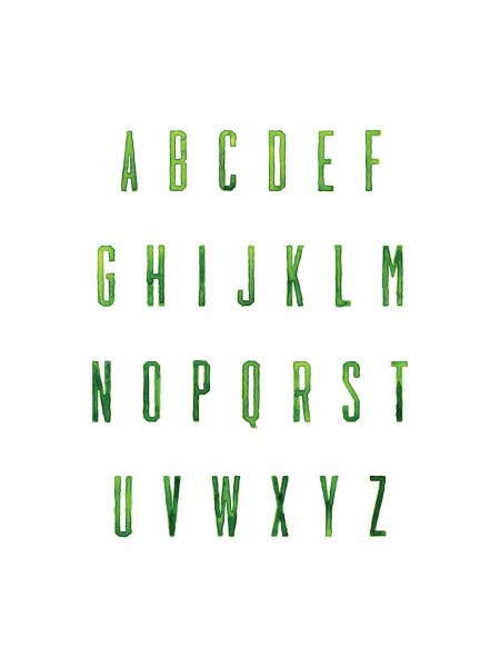 Green Painted Alphabet