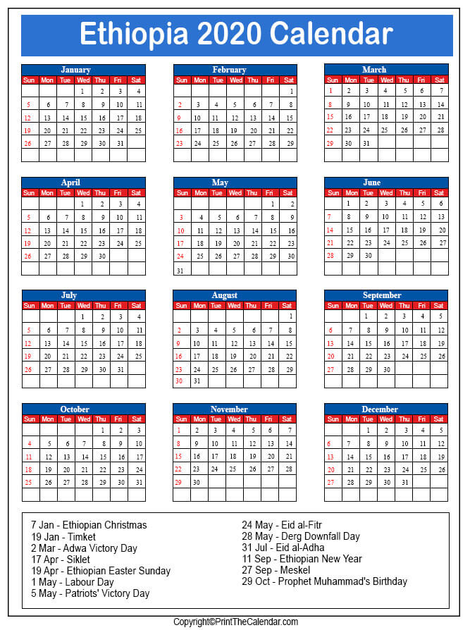 """One of the first things people do when they make the decision to """"get organized"""" is buy some kind of calendar. Ethiopia Holidays 2020 2020 Calendar With Ethiopia Holidays"""
